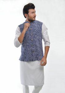 Aamir Adnan Nauy White Printed Linen Trad 2017