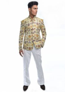 Aamir Adnan Off white jamawar Jacket 2017
