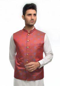 Aamir Adnan Red Jamawar Traditional Waistcoat 2017