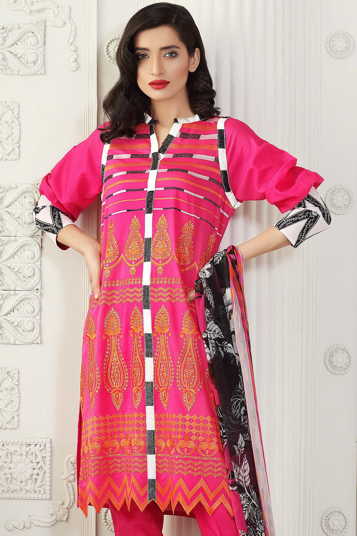 Gul Ahmed Pink color dress for eid 2017
