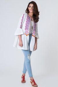 Khaadi new eid round neck jacket for girls 2017