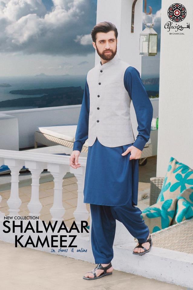 Latest men summer kurta with wasket designs 2017