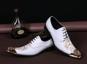 White Genuine Leather Men Shoes Iron Pointed Toe Wedding Shoes 2017