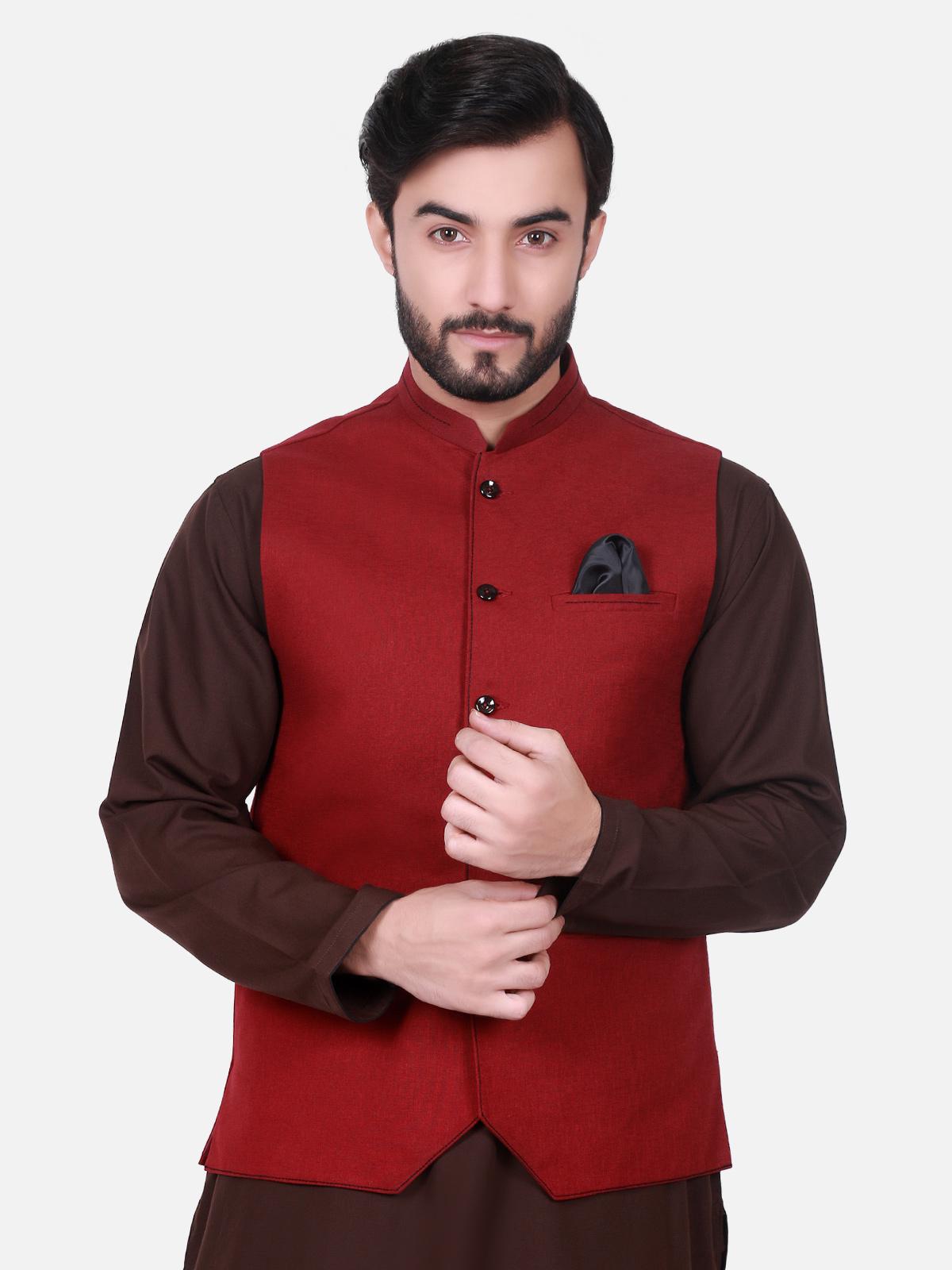 edenrobe maroon color waist coat for men 2017