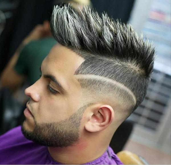 High Fades with hard part and quiff for men 2017