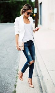 Ripped Jeans Outfits Blazer Jeans 2017