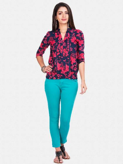 blue top with pin tuck for ladies 2017