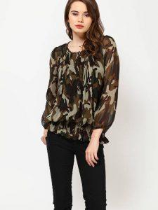 full sleeve pleated black top for girls 2017