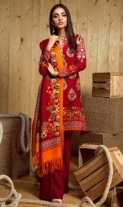 Orient Red Color Dress for Winter 2017
