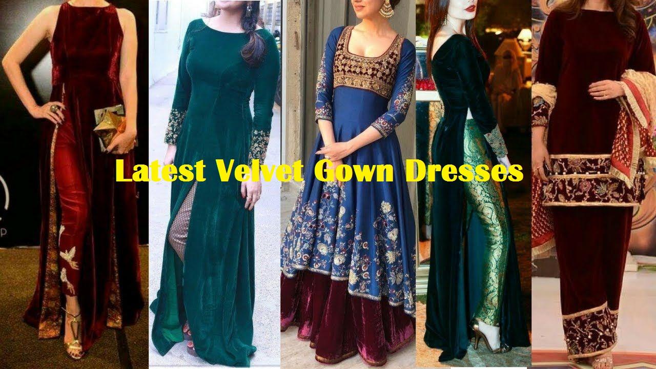 latest velvet gown dresses
