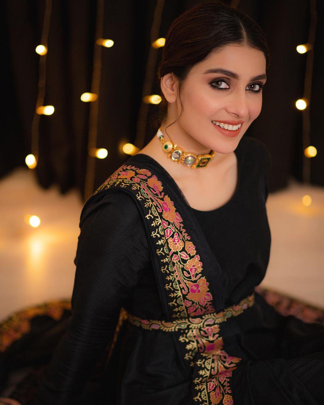 Beautiful Ayeza Khan in Black Dress