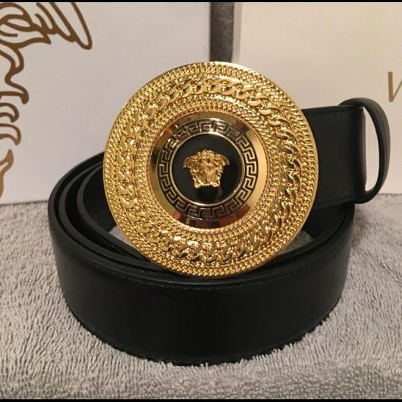 versace round buckle belt